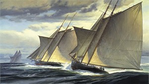 "Donald Demers Handsigned and Numbered Limited Edition Giclee on Canvas:""End of Day One - The Great Transatlantic Race, 1866 """
