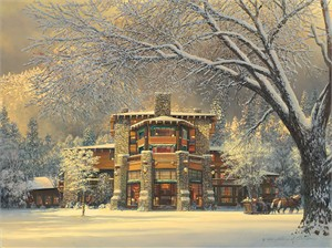 "William Phillips Handsigned and Numbered Giclée Canvas:""Christmas Eve at the Ahwahnee"""