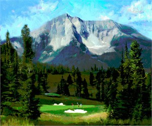 "Tom Gilleon Hand Signed and Numbered Limited Edition Giclee on Paper and Canvas:""16th Hole, the Reserve at Moonlight Basin"""