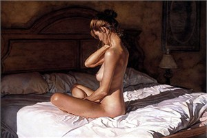 """Steve Hanks Handsigned and Numbered Limited Edition Giclee on Canvas:""""Casting Her Shadow"""""""