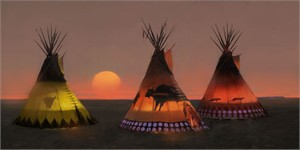 "Tom Gilleon Hand Signed MuseumEdition™ Limited Giclee Canvas:""Indian Sunset II"""