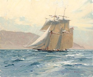 """Christopher Blossom Handsigned and Numbered Limited Edition Giclee on Canvas:""""The Revenue Cutter C. W. Lawrence"""""""