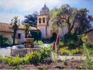 """June Carey Handsigned and Numbered Limited Edition Giclee on Canvas:""""Springtime in the Mission Garden"""""""