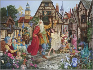 "James C. Christensen Handsigned & Numbered Limited Edition Giclee Canvas:"" Return of the Fablemaker"""