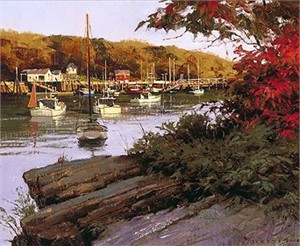 "Don Demers Handsigned and Numbered Limited Edition Giclee on Canvas:""Autumn in Little River"""