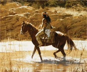 "Howard Terpning Hand Signed and Numbered Canvas Giclee: ""The Captain's Horse"""