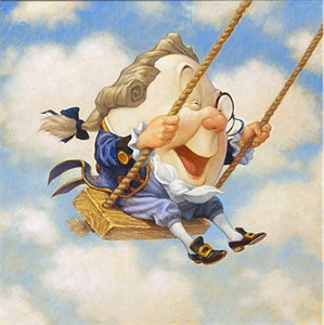 "Scott Gustafson Handsigned and Numbered Limited Edition Giclee on Canvas:""Humpty Dumpty on Swing"""