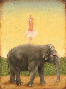 """Emily McPhie Handsigned and Numbered Fine Art Giclée Canvas:""""Pirouettes and Pachyderms"""""""