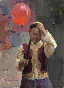 "Mian Situ Handsigned and Numbered Limited Edition Giclee on Canvas:""Red Balloon"""