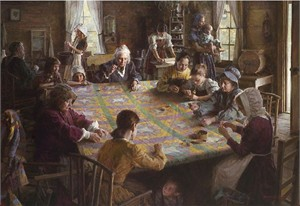 "Morgan Weistling Handsigned and Numbered Limited Edition Giclee on Canvas:""The Quilting Bee, 19th Century Americana"""