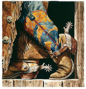 "Nelson Boren Handsigned & Numbered Limited Edition Giclee on Paper:""Cowboy Fishin' Boots"""