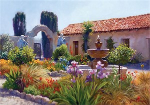 "June Carey Handsigned and Numbered Fine Art SmallWorks™ Giclée Canvas:""Big Little Mission Garden"""