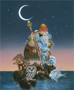 "James C. Christensen Hand-signed and Numbered Anniversary Edition Giclée Canvas :""Man Who Minds the Moon"""