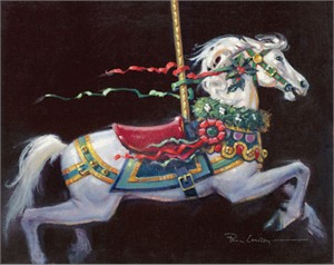 """Paul Landry Handsigned and Numbered Fine Art SmallWorks™ Giclée Canvas:""""Christmas Pony"""""""