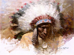 "Z. S. Liang Limited Edition Fine Art  Giclée Canvas:""Old Chief´s Story"""