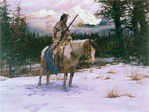 """Howard Terpning® Handsigned and Numbered Fine Art SmallWorks™ AP Giclée Canvas:""""The Lonely Sentinel"""""""