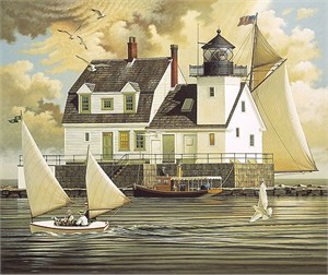 "Charles Wysocki Fine Art Anniversary Giclée Canvas:""Rockland Breakwater Light"""