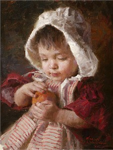 "Morgan Weistling Handsigned and Numbered Fine Art SmallWorks™ Giclée Canvas:""Juicy Peach"""