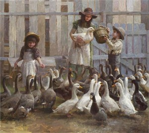 "Morgan Weistling Handsigned and Numbered Limited Edition Giclee on Canvas:""Feeding the Geese"""