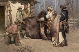 "Z. S. Liang Hand Signed and Numbered Limited Edition Masterwork™ Giclee on Canvas:""Painted Robe for Powder and Ball, Musselshell Valley, Montana, 1840"""