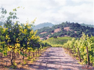 """June Carey  Hand Signed and Numbered Limited Edition Giclee Canvas:""""Vineyard Lane"""""""