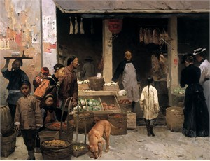 "Mian Situ Handsigned and Numbered Limited Edition Giclee on Canvas:""Chinatown Market, San Francisco, 1878"""