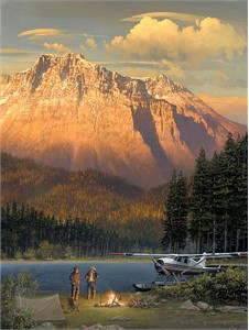 "William Phillips Hand Numbered Limited Edition Giclee on Canvas:""Fish Tales at Beaver Camp"""