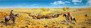 "Bob Coronato Handsigned and Numbered Limited Edition Giclee on Canvas:""Noth'n Like the Feel'n of Rid'n..."""
