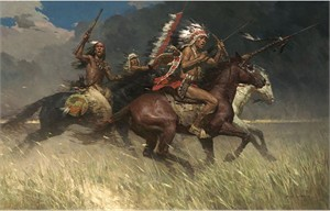 "Z. S. Liang  Handsigned and Numbered Limited Edition  Giclée Canvas:""Circling the Enemy """