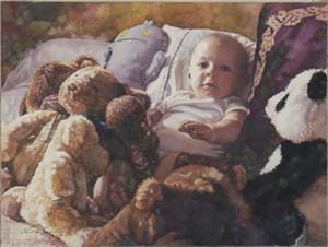 "Steve Hanks Open Edition Giclée Canvas:""Babysitting"""