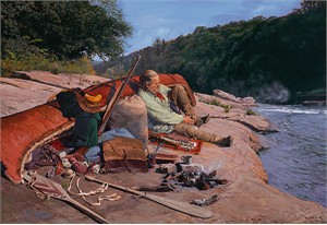 """John Buxton Handsigned and Numbered Limited Edition Giclee on Canvas:""""Dry Moccasins"""""""