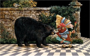 """James Christensen  Handsigned and Numbered Anniversary Giclée Canvas:""""Lawrence Pretended Not to Notice That a Bear had Become Attached to His Coattail"""""""