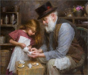"Morgan Weistling  Hand Signed and Numbered Limited Edition Giclée Canvas:""Papa´s Tea"""