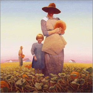 "Gary Ernest Smith Open Edition Gallery Wrap Canvas Giclee:""Pumpkin Gatherers"""