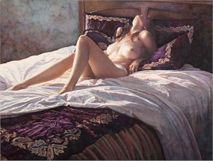 """Steve Hanks Hand Signed and Numbered Giclée Canvas:""""In the Soft Comfort of Her Bed"""""""