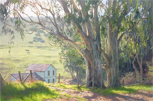 "June Carey Hand Signed and Numbered Limited Edition Canvas Giclee:""Basking Eucalyptus"""