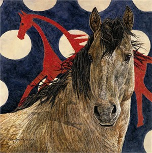 """Judy Larson Handsigned and Numbered Fine Art SmallWorks™ Giclée Canvas:""""The Horse Tipi"""""""