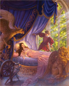 "Scott Gustafson Handsigned and Numbered  Limited Edition Giclée Canvas:""Sleeping Beauty"""