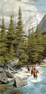 "Frank Mccarthy Handsigned and Numbered Fine Art SmallWorks™ Giclée Canvas:""Warriors of the Northern Mountains"""