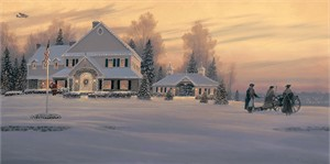 "William S. Phillips Handsigned and Numbered  Giclée Canvas:""Christmas Traditions at Watchman Hill Inn """