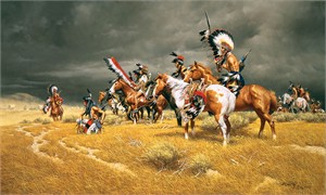 "Frank McCarthy Lmited Edition Giclée on Canvas:""Watching the Wagons"""