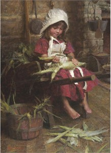 "Morgan Weistling Handsigned and Numbered Fine Art SmallWorks™ Giclée Canvas:""Emily´s Corn"""
