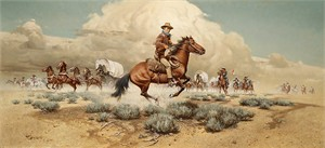 "Frank McCarthy Hand Numbered Masterwork Edition Canvas Giclee:""Under Attack - John Wayne"""