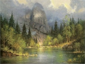 "Z. S. Liang Handsigned and Numbered Limited Edition Canvas Giclee:""Red Rock Crossing, Northwest Montana, 1850 """