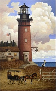 "Charles Wysocki Personal Commission Anniversary Giclée Canvas:""Daddy's Coming Home"""