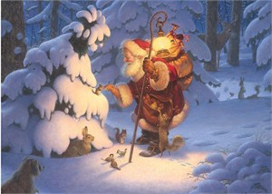 """Scott Gustafson Handsigned and Numbered Limited Edition Giclée Canvas:""""Woodland Santa"""""""