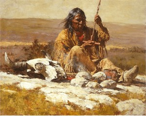 """Howard Terpning Hand Signed Artist Proof Limited Edition Canvas Giclee:""""Seeking Wisdom Through the Pipe"""""""