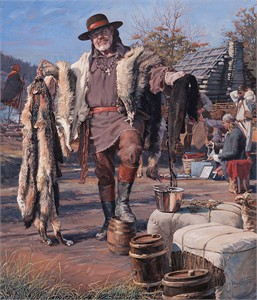 "John Buxton Hand-Signed and Numbered Limited Edition Giclée Canvas:""The Fur Trader"""