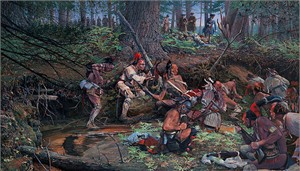 """John Buxton Hand Signed and Numbered Limited Edition Canvas Giclee:""""Ambush 1725 at Lovewell Pond"""""""