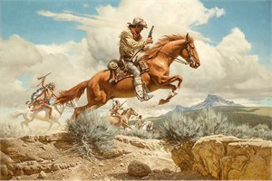 "Frank McCarthy Hand Numbered Limited Edition Anniversary Canvas Giclee:""Pony Express"""
